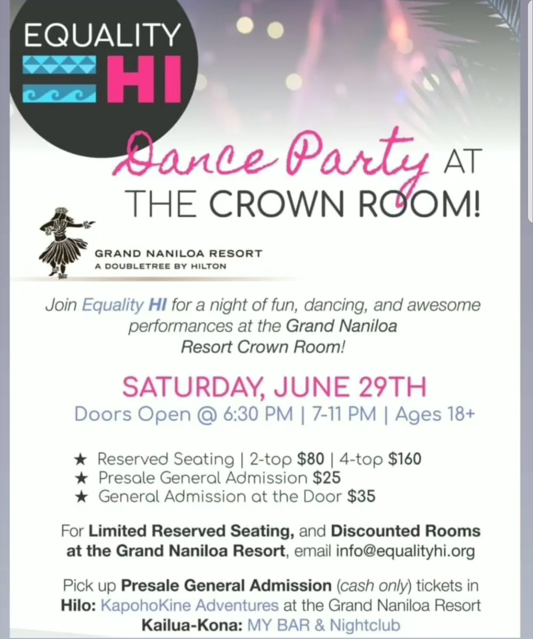 Equality HI Dance Party at the Crown Room